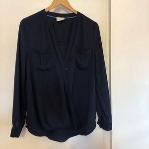 Anthropologie Navy Blue Blouse